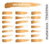 set of brushes paints strokes ... | Shutterstock .eps vector #755655964