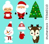 christmas icons. collection.... | Shutterstock .eps vector #755660110