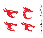 dragon heads type icon logo... | Shutterstock .eps vector #755661868