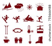 winter season vector icon set ... | Shutterstock .eps vector #755666488