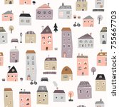 Seamless Cute Town Pattern