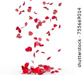 Stock photo rose petals fall to the floor isolated background 755669014