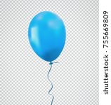 brilliant blue balloon with... | Shutterstock .eps vector #755669809