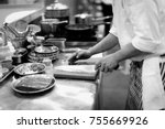 chef cooking in a kitchen  chef ... | Shutterstock . vector #755669926