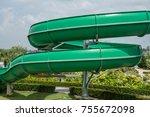 water slide with blue sky in... | Shutterstock . vector #755672098