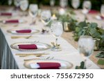 elegant table set up for dinner ... | Shutterstock . vector #755672950