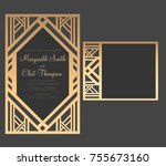 geometric laser cut wedding... | Shutterstock .eps vector #755673160