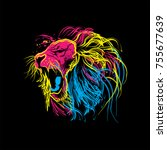 lion roar colourfull vector logo | Shutterstock .eps vector #755677639