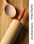roller pin and wooden spoon. | Shutterstock . vector #755679694