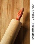 roller pin on wood. top down... | Shutterstock . vector #755679700