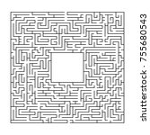 complex maze puzzle game with... | Shutterstock .eps vector #755680543