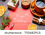 christmas holidays composition... | Shutterstock . vector #755682913