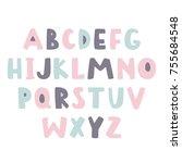 bold handwritten childish font. ... | Shutterstock .eps vector #755684548