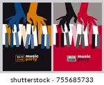 hands and piano keys vector... | Shutterstock .eps vector #755685733