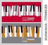 hands and piano keys vector... | Shutterstock .eps vector #755686183