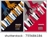 hands and piano keys vector... | Shutterstock .eps vector #755686186