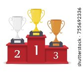 winners podium with gold ...   Shutterstock .eps vector #755692336