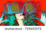 head of a woman with 2 video... | Shutterstock . vector #755692573