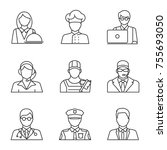professions linear icons set.... | Shutterstock .eps vector #755693050