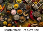 spices and herbs in wooden... | Shutterstock . vector #755695720