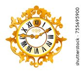 vintage golden wall clock with... | Shutterstock .eps vector #755695900
