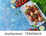 barbecue of chicken on skewers...   Shutterstock . vector #755696614
