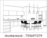 Stock vector  d vector sketch modern kitchen design in home interior kitchen sketch with decorations and 755697379