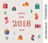 lovely happy new year 2018... | Shutterstock .eps vector #755698210