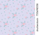 seamless floral pattern.... | Shutterstock .eps vector #755698558