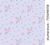 seamless floral pattern.... | Shutterstock .eps vector #755698558