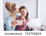 selfie together. mom and... | Shutterstock . vector #755700829