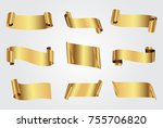 golden ribbon banners.vector... | Shutterstock .eps vector #755706820