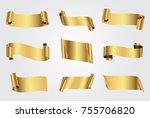 golden ribbon banners.vector... | Shutterstock .eps vector #755706820