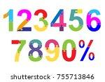 puzzle font. school children... | Shutterstock .eps vector #755713846
