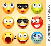 smiley emoticons set. yellow... | Shutterstock .eps vector #755715100
