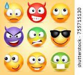 smiley emoticons set. yellow... | Shutterstock .eps vector #755715130