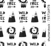 wild and free   cute hand drawn ... | Shutterstock .eps vector #755716978