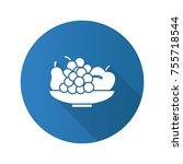 bowl with fruit flat design...   Shutterstock .eps vector #755718544