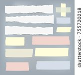 colorful  white ripped note... | Shutterstock .eps vector #755720218