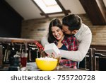 a happy couple is having fun at ... | Shutterstock . vector #755720728