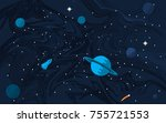 space flat background with... | Shutterstock .eps vector #755721553