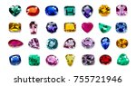 bright gems isolated on a white ... | Shutterstock . vector #755721946