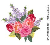 bouquet of beautiful roses ... | Shutterstock .eps vector #755723113