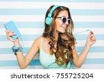 close up portrait of joyful... | Shutterstock . vector #755725204