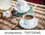 fresh made turkish coffee and... | Shutterstock . vector #755725540