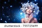 christmas girl makeup. winter... | Shutterstock . vector #755725699