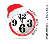 new year clock with hat... | Shutterstock .eps vector #755725879