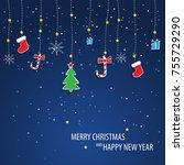 beautiful decorative christmas... | Shutterstock .eps vector #755729290