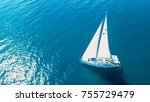 Aerial View Of Yacht Sailing...