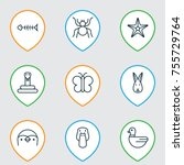 zoology icons set. includes...   Shutterstock .eps vector #755729764